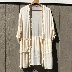 Easel Anthropologie Ruffle Open Cardigan Small